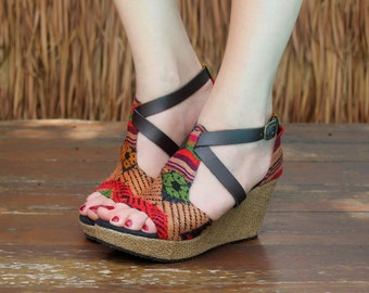 Laos Embroidered Vegan Womens Ethnic Sandals Faux Leather Straps Wedge Heel - Leighanna