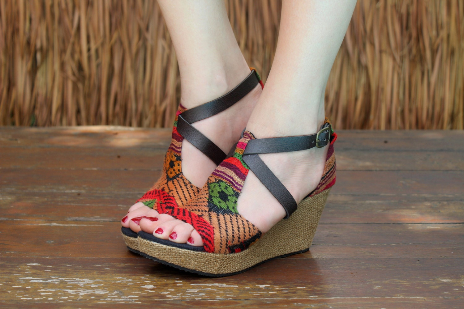 Beautiful Vegan Womens Ethnic Sandals Colorful Hmong Embroidery Faux Leather