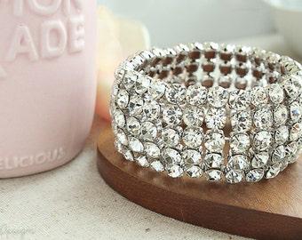 Glamorous 5 Row Swarovski Crystal Bracelet - Bridal Bracelet