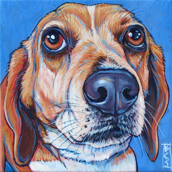 """6"""" x 6"""" Custom Pet Portrait Painting in Acrylic on Canvas of One Dog, Cat, Horse Pet Lover Gift or Dog Lover Christmas Gift Stocking Stuffer"""