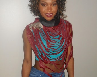 TMD: unique leather fringe statement necklace...tribal, native, hippie custom order only