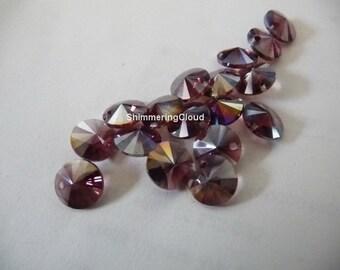 Crystal beads, burgundy beads, metalized beads, coin beads, disc beads, 8 mm beads, Swarovski beads, quartz beads, pendant beads, 6200