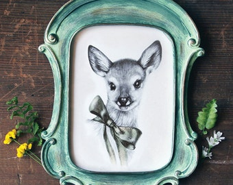 Sweet Fawn Print 5x7 Framed
