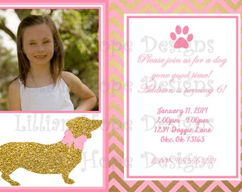 Puppy Party Invitation - Pink and Gold Invitation - Dog Invitation - PRINTABLE Photo Invitation w/ Thank You Card