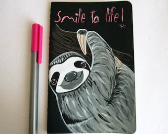 On sale.Smiling Sloth Notebook. Black Journal. hand painted. back to school.