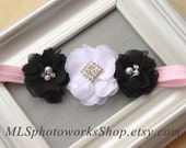 Chic Chiffon Baby Headband in Black, White & Pink - Wedding Flower Girl Hair Bow in Classic White and Black Flower Combination