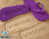 Custom Name Flip Flops Sand Imprint Personalized*Check size chart before ordering*