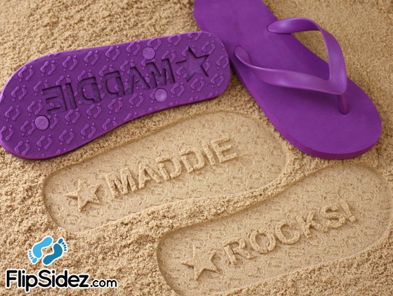 Custom Name Flip Flops Sand Imprint Personalized *Check size chart before ordering*