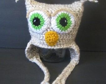 Owl Baby Hat - Photo Prop - Newborn through 12 Months
