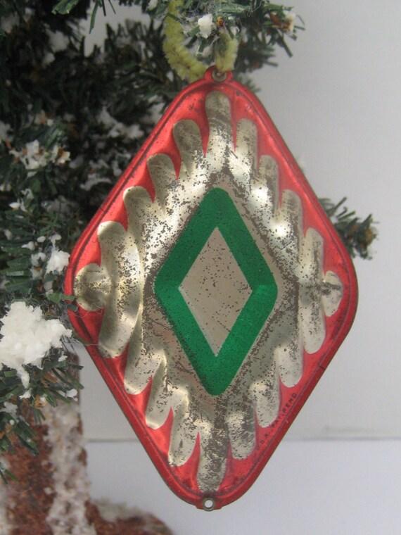 Vintage tin christmas ornament diamond shape green