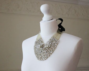 Rhinestone Bib statement necklace by Jade Rose. Bridal, gold, art deco, crystals, couture for strapless gown.