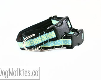 "Pastel Sea Side Dot Dog Collar // 3/4"" (19mm) wide // Choice of style and size // Martingale or Side Quick Release / Mint / Yellow / Pastel"
