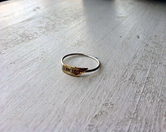 Tiny Tennessee Sterling Silver Stacking Ring - Brass on Silver - custom made to order