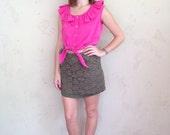 hot pink crop top with waist tie & ruffle Peter Pan collar
