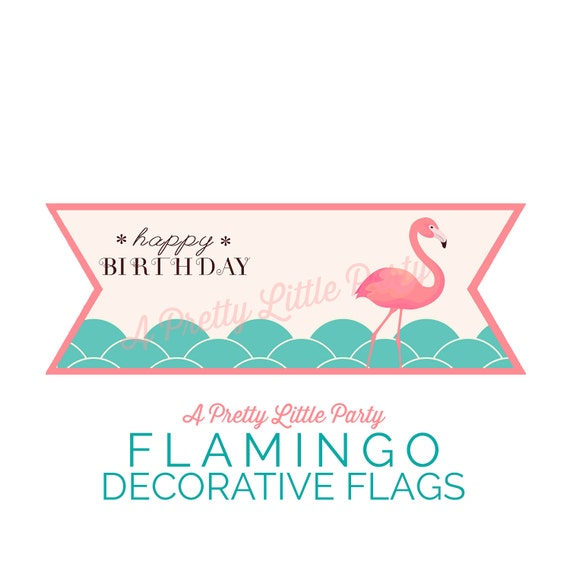 FLAMINGO Decorative Flags- Pool Party Decor Flags - Beach party - party supplies