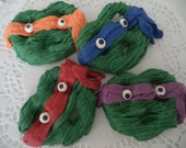 12 Teenage Mutant Ninja Turtle Faces Green Chocolate Dipped Pretzels Party Favors
