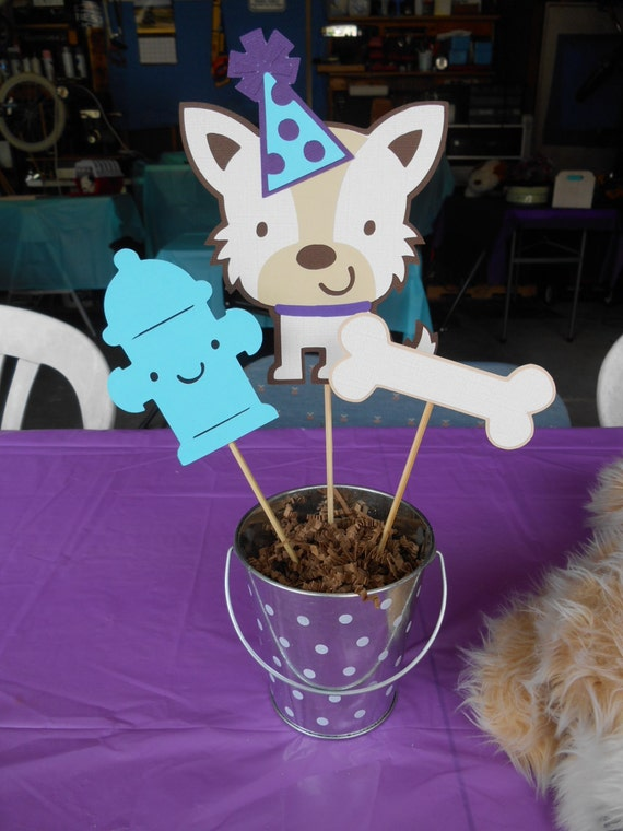 Dog theme centerpiece birthday party baby shower table for Dog decorations for home