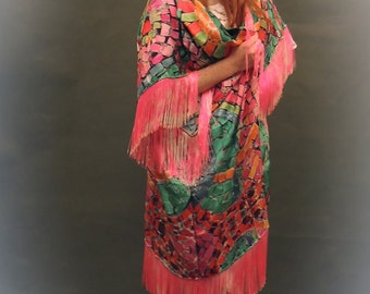 Handmade luxe kimono / mosaic print fringed vivid silk avant garde large duster / Wearable art opera coat so vivid and vibrant
