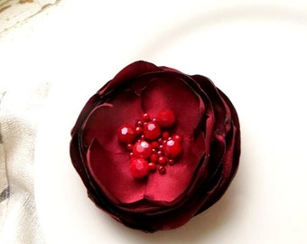 Cranberry Red Satin Flower Pin, Deep Red Silk Flower Brooch, Red Fabric Flower Broach, Womens Gift, Floral Accessory, Flower Pin valentines