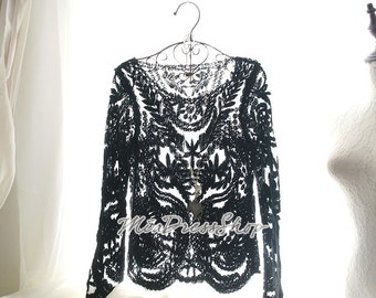 Summer Fall Flower Floral Lace Crochet Sheer Black Long Sleeves Sheer See Through Top Blouse Coverup ,Gypsy Boho Bohemian Beach Love Sun