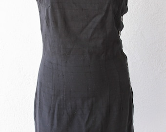 Vintage Black Linen Dress with Buttons Down The Side