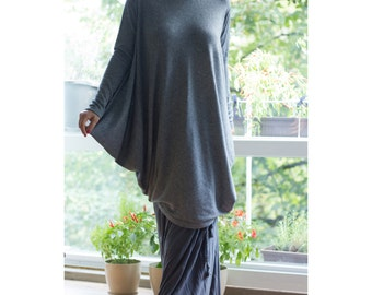 Plus Size Turtle Neck Tunic / Loose Oversize Blouse / Long Asymmetric Raglan Sleeves / Loose Winter Dress/ Dark Grey/SW002
