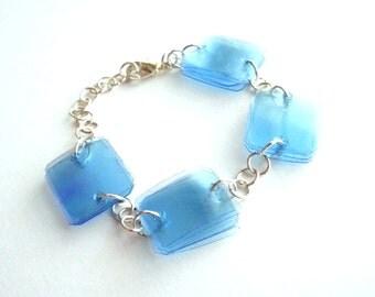 Geometric bracelet made of plastic bottles eco friendly jewelry light blue bracelet recycled jewelry modern bracelet upcycled jewelry