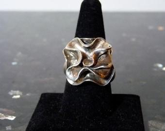 SALE Vintage Silver Large HEAVY Carnation Rose Flower Ring