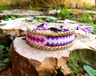 White Swarovski pink&purple bracelet, Purple friendship bracelet, Valentine's jewelry