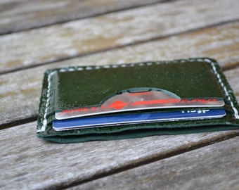 Green patent leather minimalistic wallet - Hand stitched