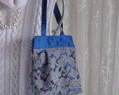 Blue Silk and Lace Small Purse Small Bag Fancy Bag Again