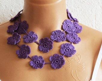 Hand crochet lace necklace plum, infinity Purple necklace, Plum flowering necklace, romantic, elegant, wedding necklace or bracelet Acai