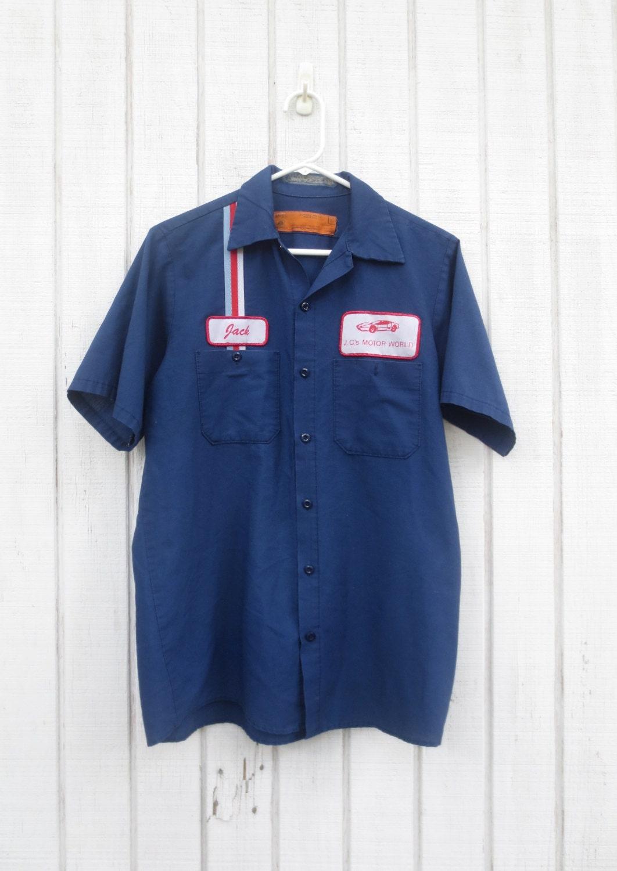 Vintage gas station shirt mechanic shirt 70 39 s men shirt for Design a work shirt