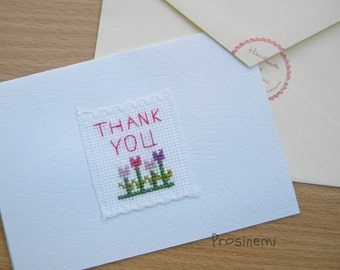 Thank you embroidery card, cross stitched card, flowers card, tulip card