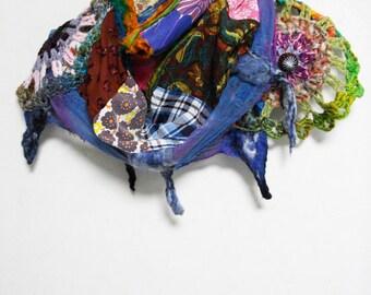 SALE 30% off Bohemian Gypsy Multi Color Patchwork Cotton Gauze Hand Crochet Scarf