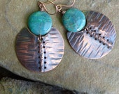 Urban tribal fold formed copper discs with chrysocolla