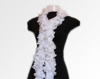 Ruffled Cotton Silk scarf - Hand Made Crochet Scarf - Boa