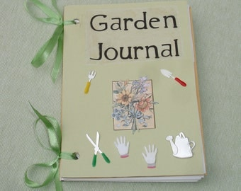 Mixed Media Garden Journal Book -  Blank Journal - OOAK