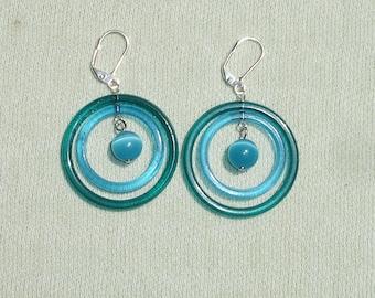 Layered Circle Summer Dangle Earrings with European Leverbacks