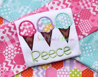 Ice Cream Cone Embroidered Shirt - Summer Shirt - Icecream Shirt - Girls Icecream Shirt - Summer - Girls Summer - Beach Shirt - Picnic Shirt