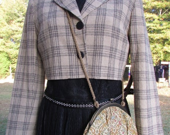 SALE take off 50 % off the original price Vintage Cropped Jacket Plaid beige and black lined Donna Degnan made in USA
