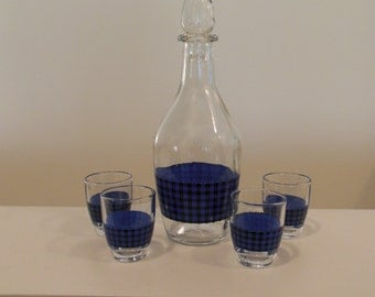 Blue and Black Houndstooth Decanter with Four Matching Shot Glasses Made in Italy