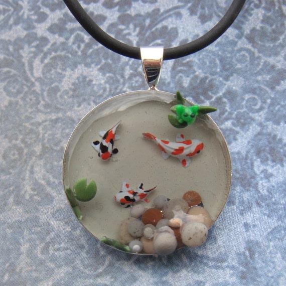 Koi fish pond pendant necklace with tiny frog by for Resin koi fish