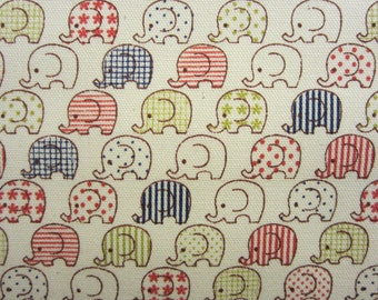 Japanese Elephant Fabric by Kokka in Oxford Cotton - 1/2 YD