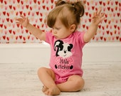 Valentine's Day little stinker bodysuit, ruffle dress or shirt toddler clothing pink