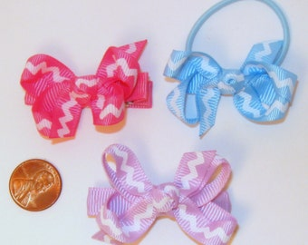 Chevron zig-zag small hairbow trio on your choice of clip, barrette, or ponytail holder
