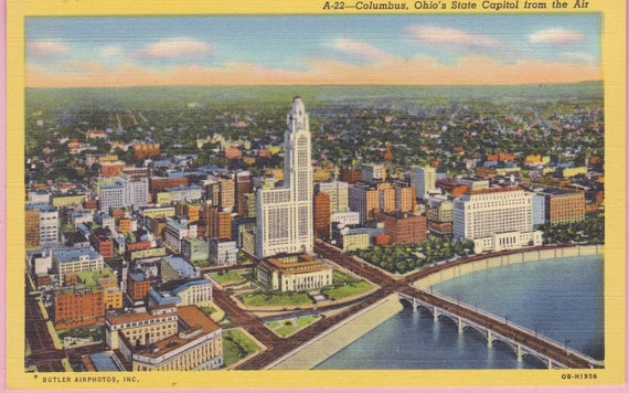 Ca 1930s state capital columbus oh by pecanhillpostcards for Columbus capitale