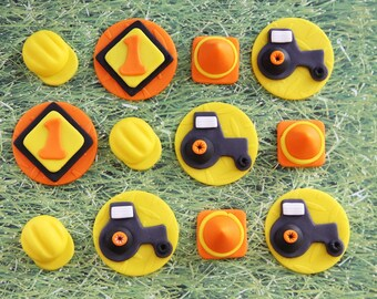 Cupcake Fondant Topper - Construction Tractor-Themed Fondant Cupcake Toppers - Perfect for Cupcakes, Cookies and Other Edibles