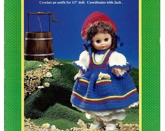 Jill Nursery Rhyme girl Doll Crochet Pattern Fibre Craft FCM187