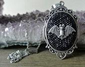 Bat Necklace - Rhinestone Cameo - Bat Jewelry - Halloween